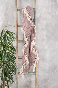 Aubergine Cotton Herringbone Throw