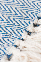 Load image into Gallery viewer, Blue Cotton Herringbone Throw