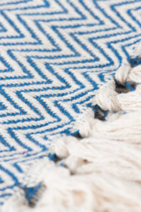 Blue Cotton Herringbone Throw
