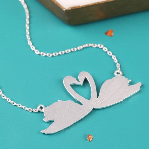 Silver Swans Necklace