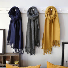 Load image into Gallery viewer, Navy Lambswool Scarf