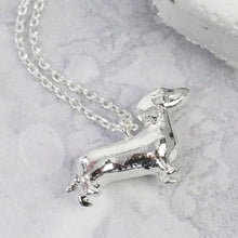 Load image into Gallery viewer, Silver Dachshund Dog Necklace