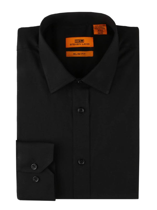 Steven Land Performance Stretch Dress Shirt | Slim Fit | Black