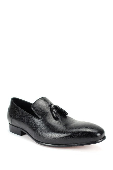 Steven Land Shoes | Laser Etch Tassel Slip-On Leather Loafer | Black