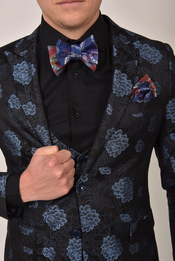 Steven Land | Valentino | 3D Chrysanth Flower 3 Piece Suit | Slim Fit | Blue