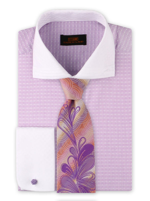 Dress Shirt | DW1909 | Classic Fit | 100% Cotton | Wide Spread Collar | French Round Cuff | Purple
