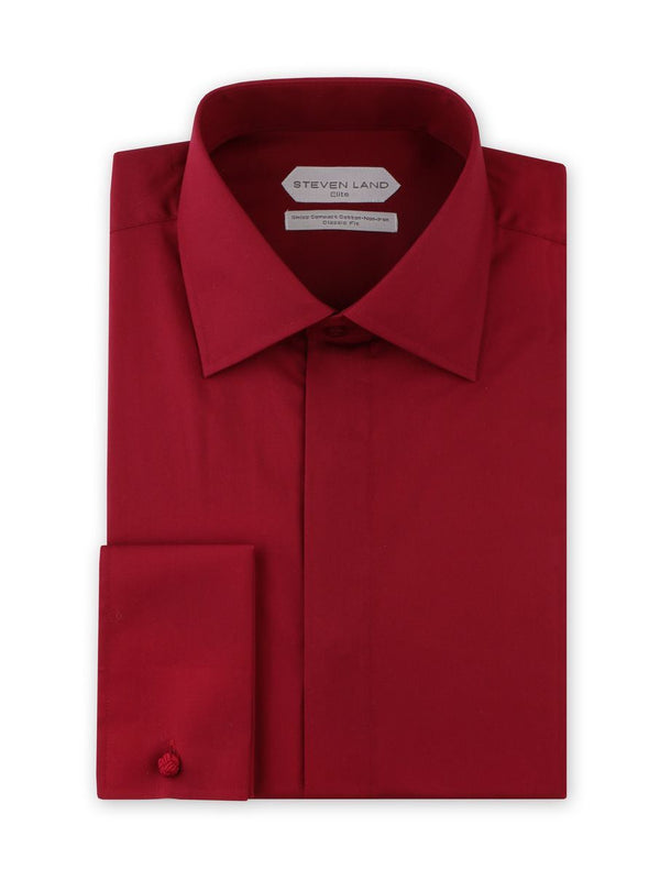 Dress Shirt | DSW116F | Classic Fit | 100% Cotton | Spread Collar | French Square Cuff | Burgundy