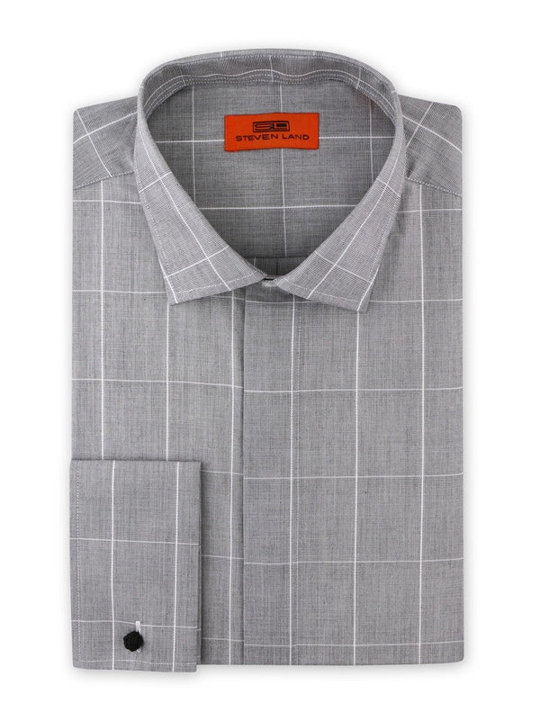 Dress Shirt | DC1937 | Cotton Blend | Classic Fit | Spread Collar | French Square Cuff | Silver