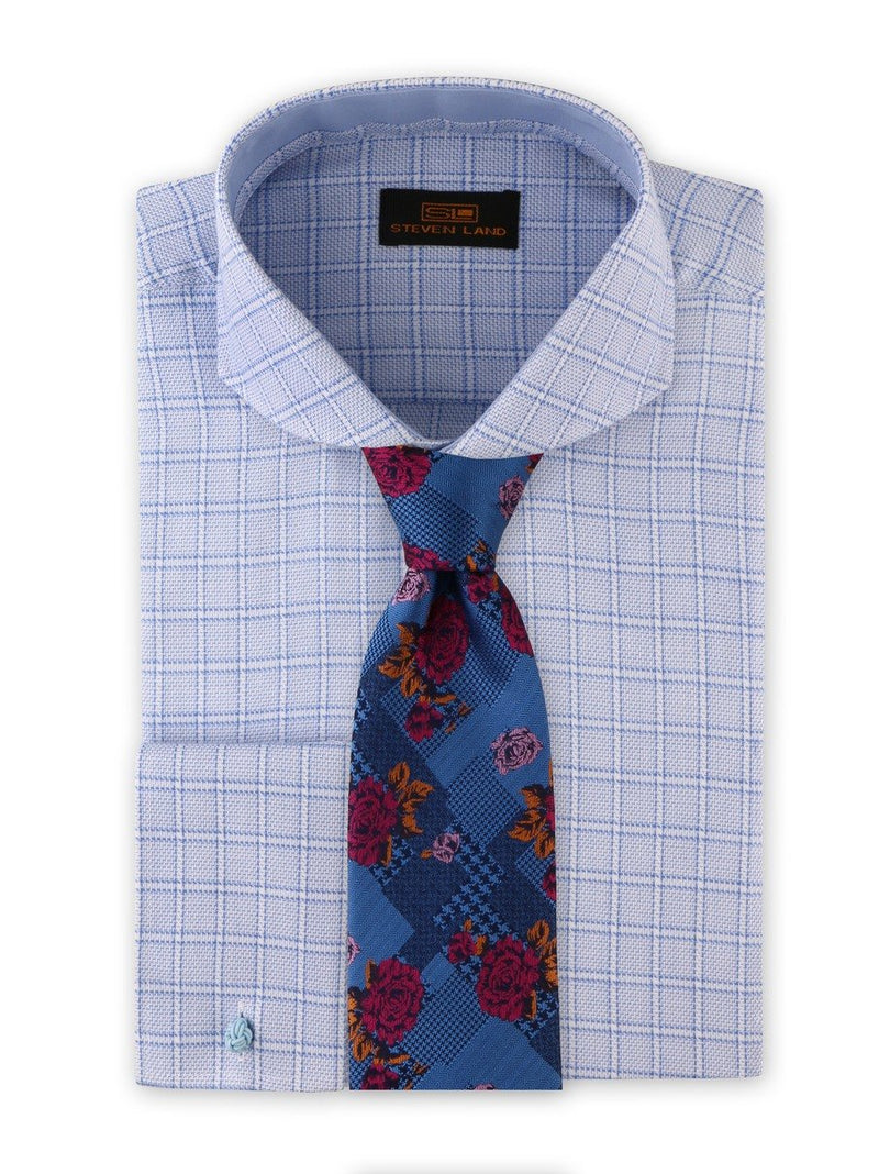 Dress Shirt | DA1913 | Classic Fit | 100% Cotton | Cutaway Collar | French Cuff | Blue