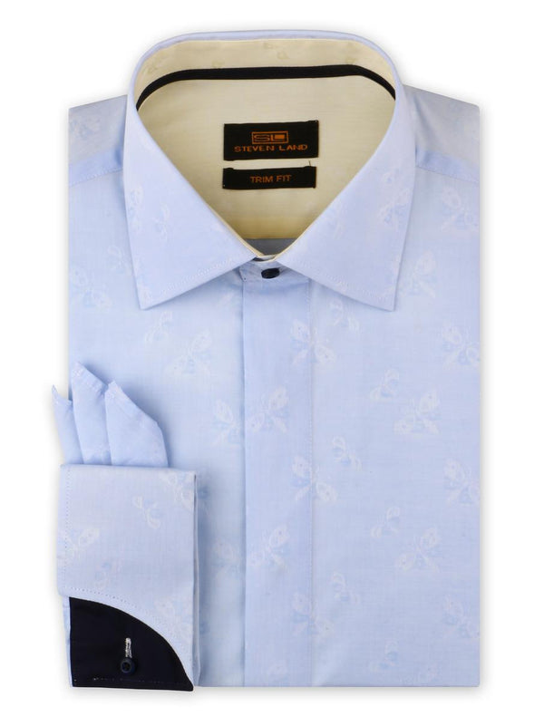 Dress Shirt | TA1908 | Trim Fit | Spread Collar | Shaped Convertible Cuff | Blue