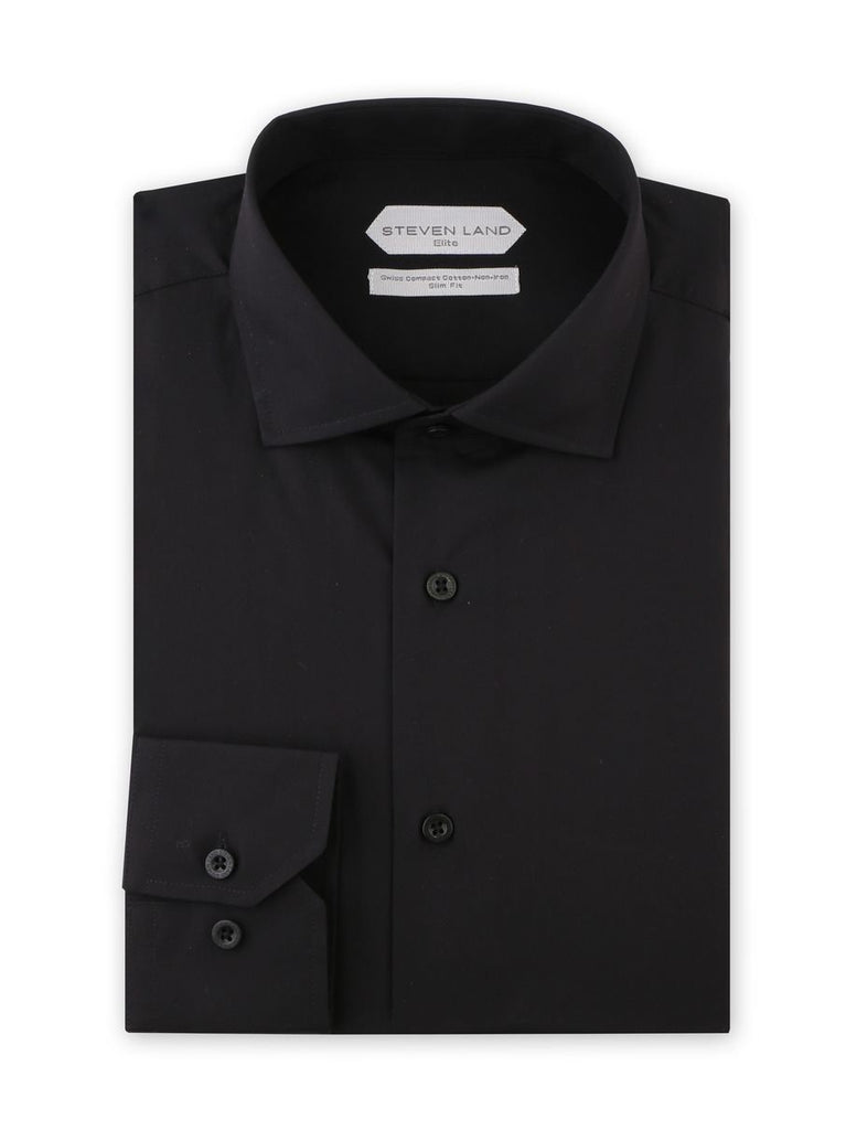 Dress Shirt | DSW116B | Slim FIt | 100% Cotton | Spread Collar | Button Barrel Cuff | Black