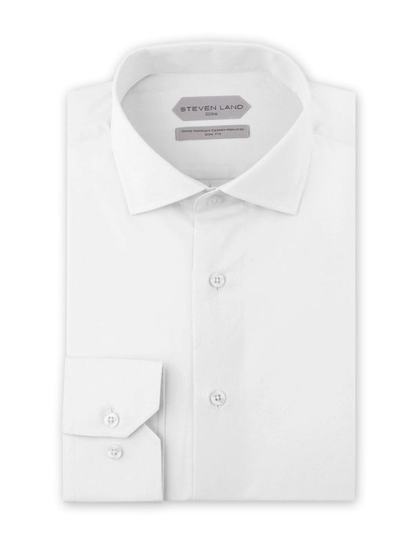 Dress Shirt | DSW116B | Slim FIt | 100% Cotton | Spread Collar | Button Barrel Cuff | White