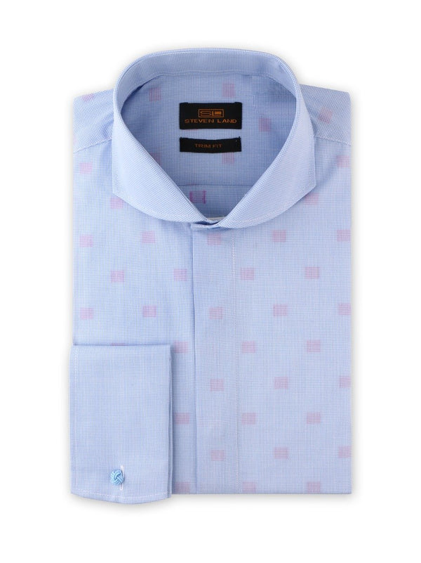 Dress Shirt | TA1915 | Trim Fit | 100% Cotton | Cutaway Collar | Rounded French Cuff | Blue