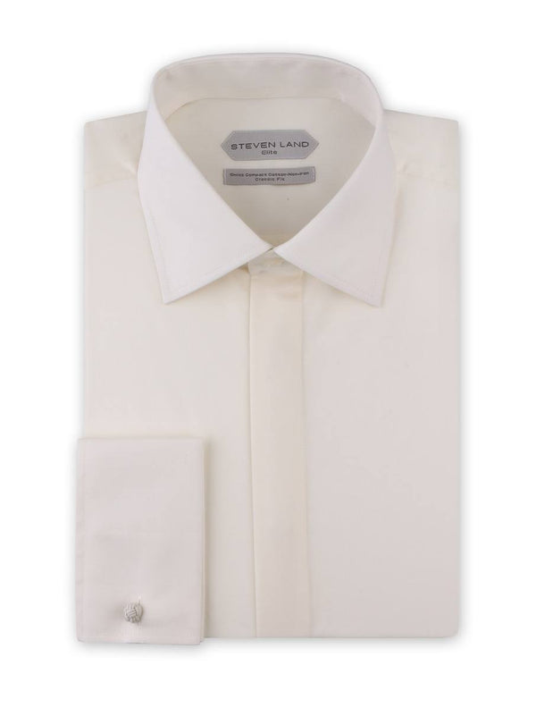 Dress Shirt | DSW116F | Classic Fit | 100% Cotton | Spread Collar | French Square Cuff | Egg Shell