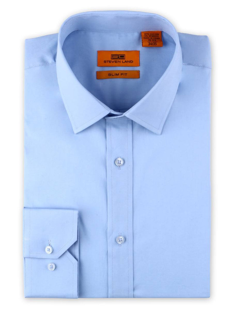 Steven Land Poplin Dress Shirt | Slim Fit | button Cuff | 100% Cotton | Color Light Blue