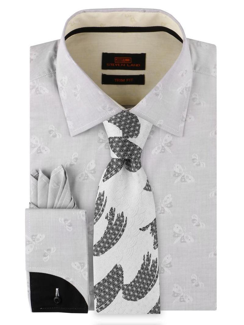 Dress Shirt | TA1908 | Trim Fit | Spread Collar | Shaped Convertible Cuff | Silver