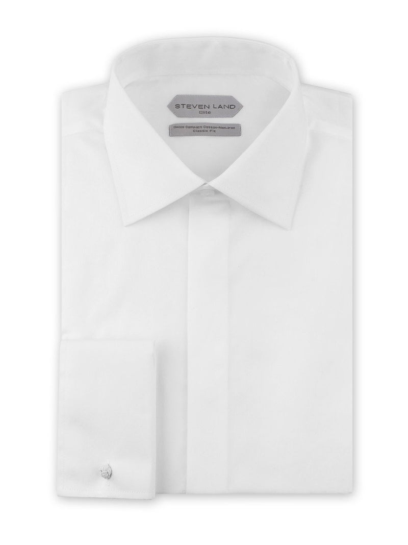 Dress Shirt | DSW116F | Classic Fit | 100% Cotton | Spread Collar | French Square Cuff | White