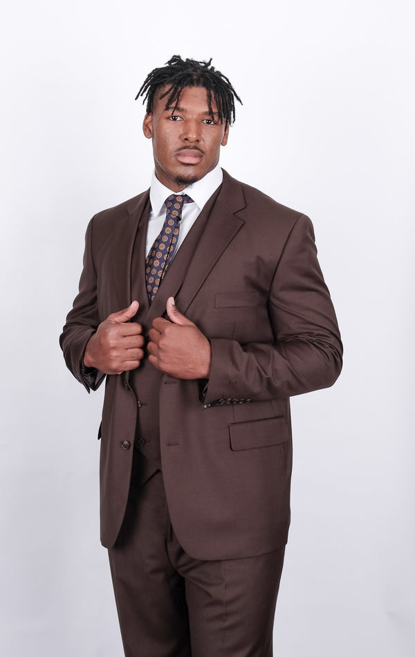 Steven Land | Angelo 3 Piece Wool Suit | Big and Tall Sizes | Brown