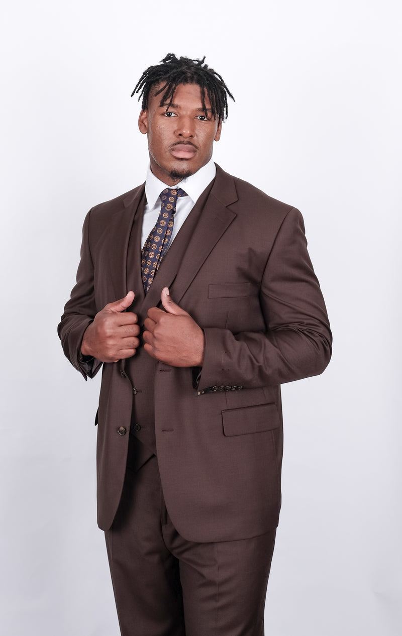 Angelo | SL57 | 3 Piece Suit | Classic Fit | Color Brown