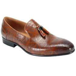 Steven Land Shoes | Laser Etch Tassel Slip-On Leather Loafer | Tan