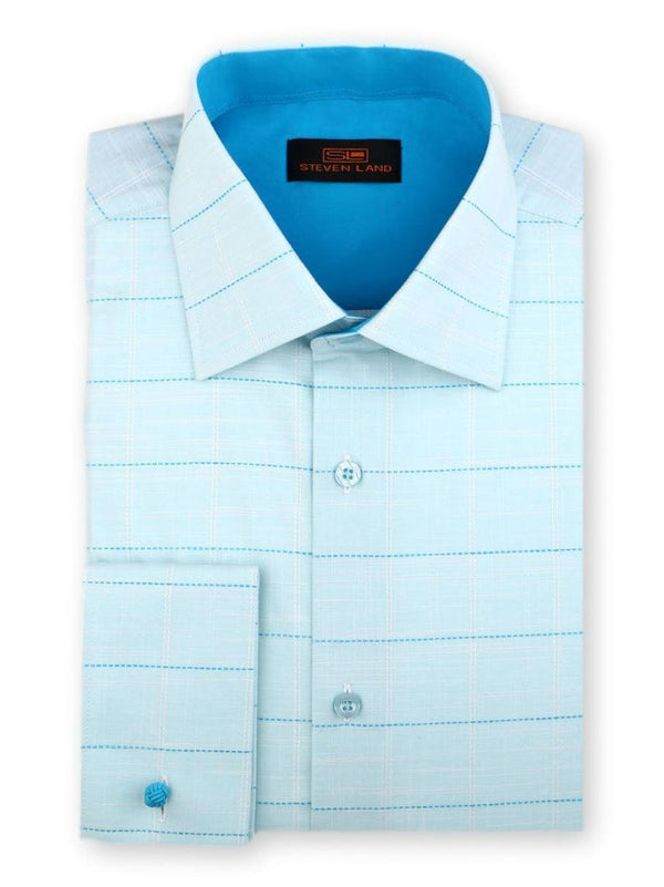 Steven Land Phantom Plaid Dress Shirt Classic Fit 100% Cotton French Cuff  Spread Collar Color Aqua