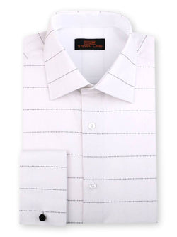 Steven Land Phantom Plaid Dress Shirt Classic Fit 100% Cotton French Cuff  Spread Collar Color White