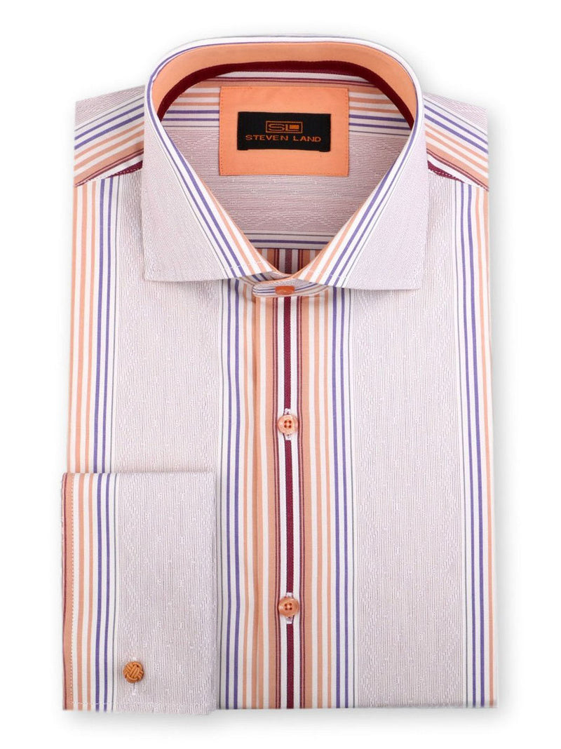 Steven Land Riviera Stripe Dress Shirt Classic Fit 100% Cotton French Cuff Spread Collar Color Tan