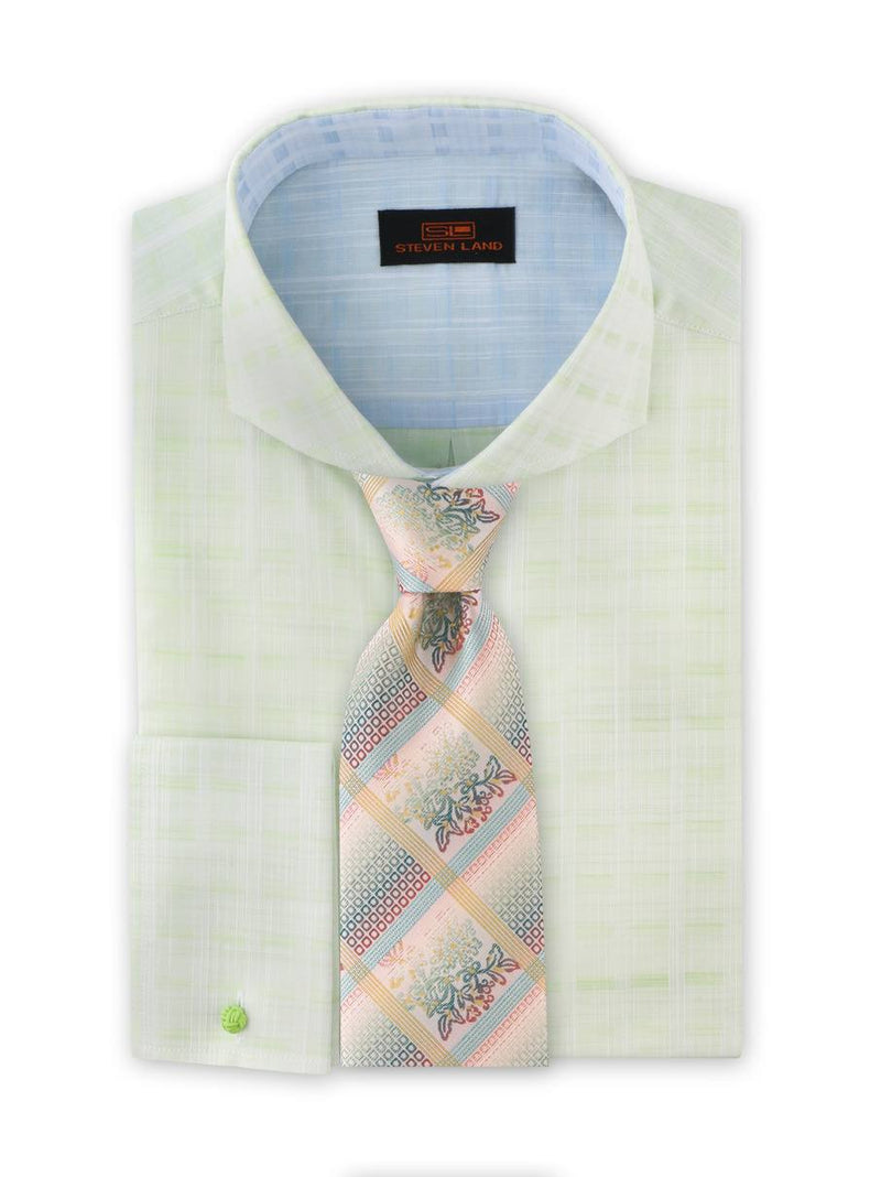 Strié Check Dress Shirt | Green | DA1902