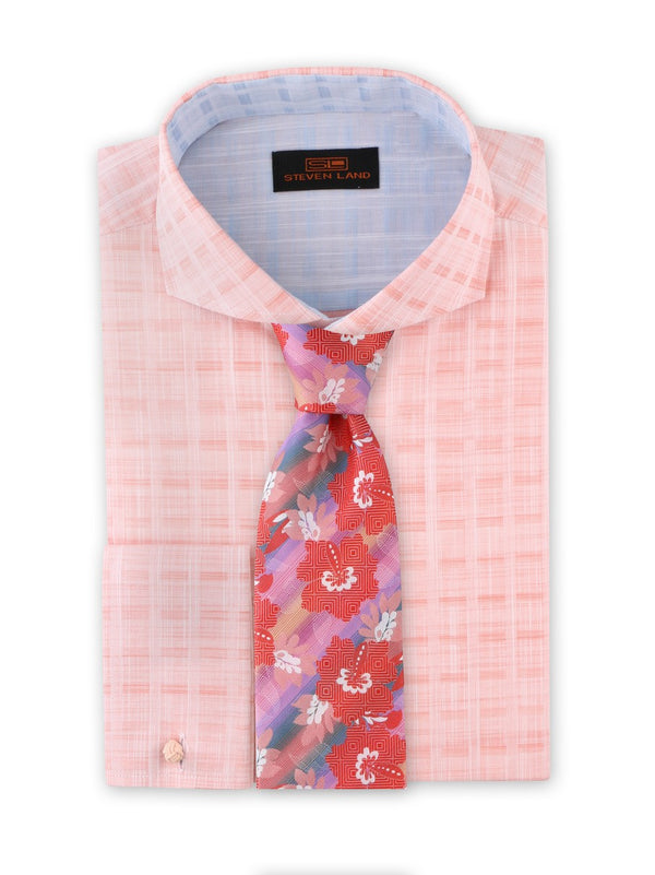 Strié Check Dress Shirt | Peach | DA1902