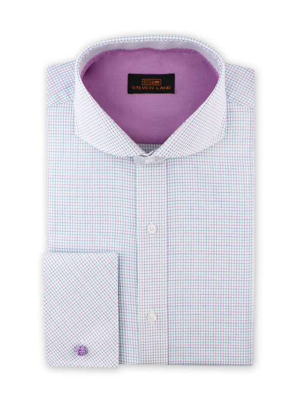 Steven Land Dress Shirt  Classic Fit 100% Cotton Tattersall Spread Collar Square Cuff Blue