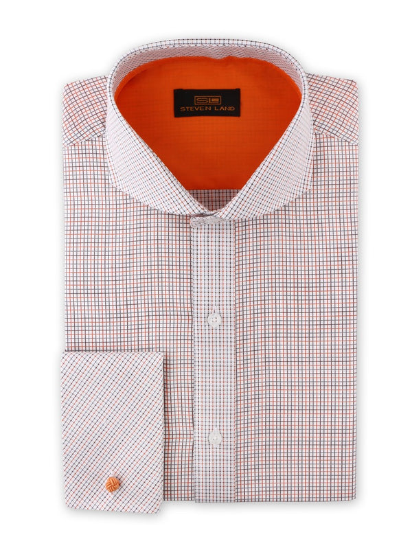 Steven Land Dress Shirt  Classic Fit 100% Cotton Tattersall Spread Collar Square Cuff Clay