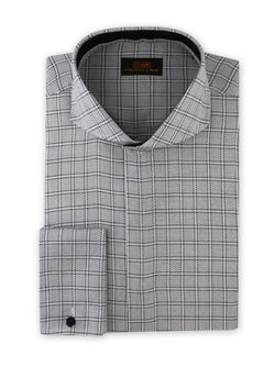 Steven Land Dress Shirt Classic Fit 100% Cotton Cutaway Collar French Cuff Silver