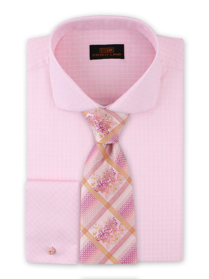 Dress Shirt | DA1917 |  Classic Fit | Shaded Check Shirt | 100% Cotton | Spread Collar | Pink