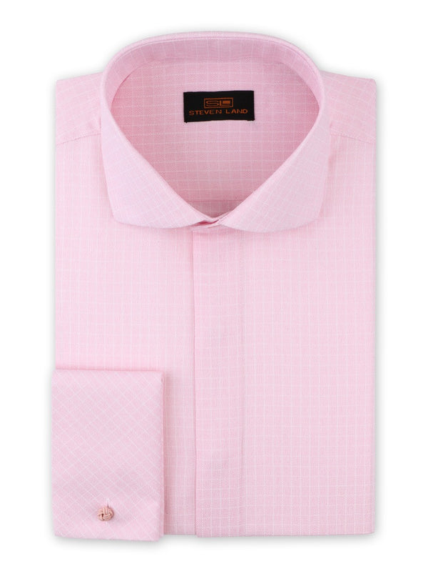 Steven Land Dress Shirt Classic Fit Shaded Check Shirt 100% Cotton Spread Collar French Cuff Color Pink
