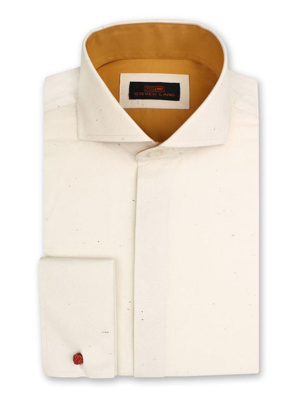 Steven Land Dress Shirt Classic Fit 100% Cotton Wide Collar French Cuff Fly Front Color Cream