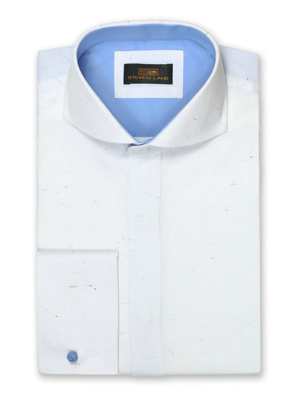Steven Land Dress Shirt Classic Fit 100% Cotton Wide Collar French Cuff Fly Front Color White