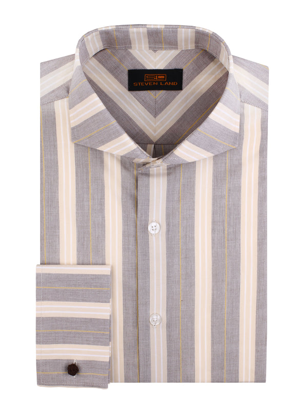 Steven Land | September Stripe Dress Shirt | Color Brown