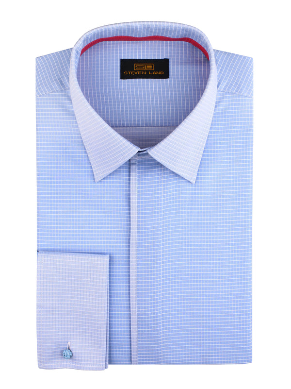 Steven Land | Micrograph Woven Dress Shirt | Color Blue