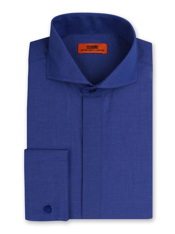 Steven Land Dress Shirt Classic Fit Cutaway Collar French Cuff Color Royal