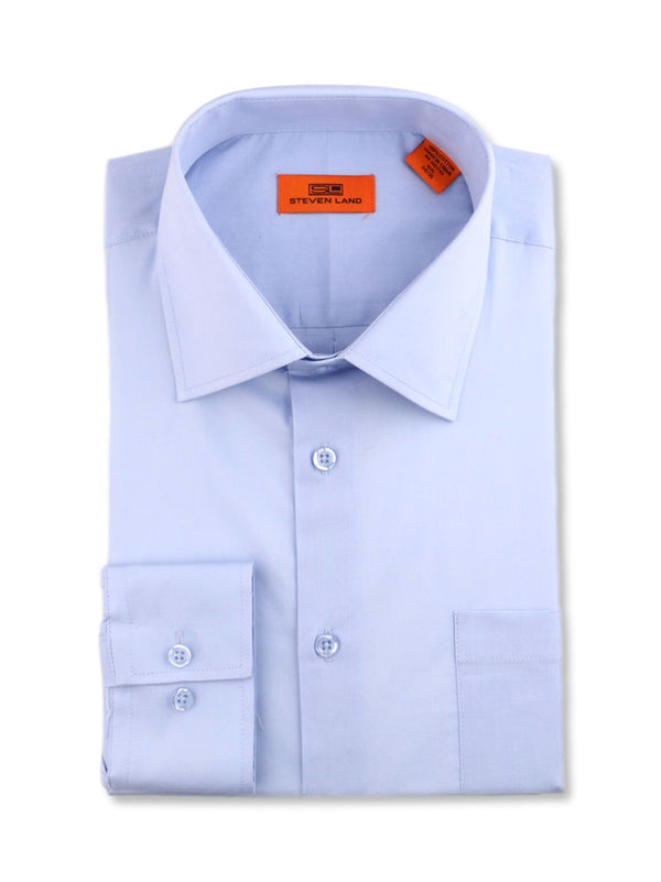 Steven Land Poplin Dress Shirt | Trim Fit | Button Cuff | 100% Cotton | Color Light Blue