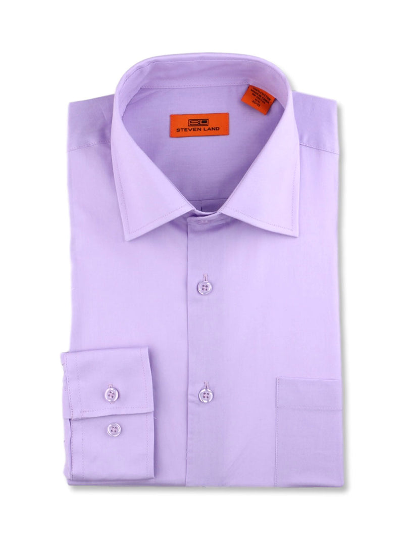 Steven Land Poplin Dress Shirt | Trim Fit | Button Cuff | 100% Cotton | Color Lilac