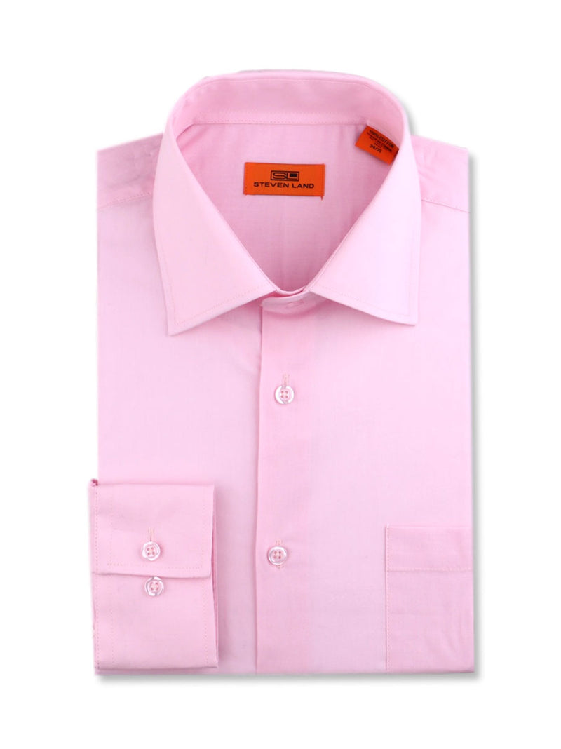 Steven Land Poplin Dress Shirt | Trim Fit | Button Cuff | 100% Cotton | Color Pink