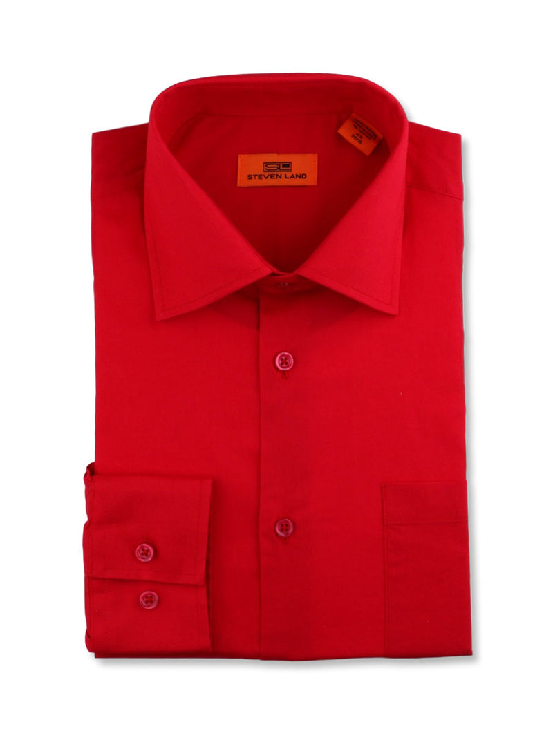 Steven Land Poplin Dress Shirt | Trim Fit | Button Cuff | 100% Cotton | Color Red