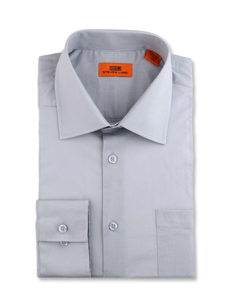 Steven Land Poplin Dress Shirt | Trim Fit | Button Cuff | 100% Cotton | Color Silver