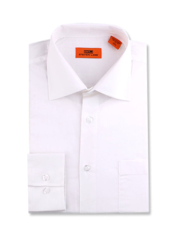 Steven Land Poplin Dress Shirt | Trim Fit | Button Cuff | 100% Cotton | Color White