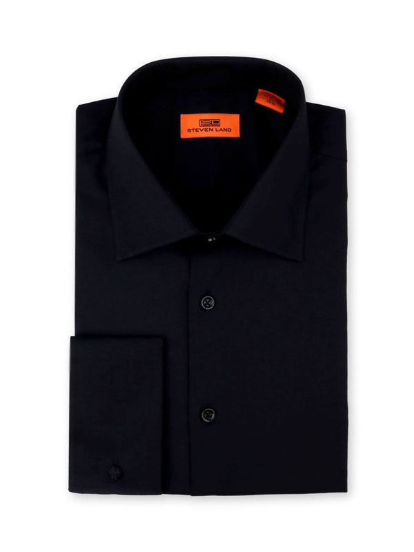 Steven Land Poplin Dress Shirt | Classic Fit | French Cuff | 100% Cotton | Color Black