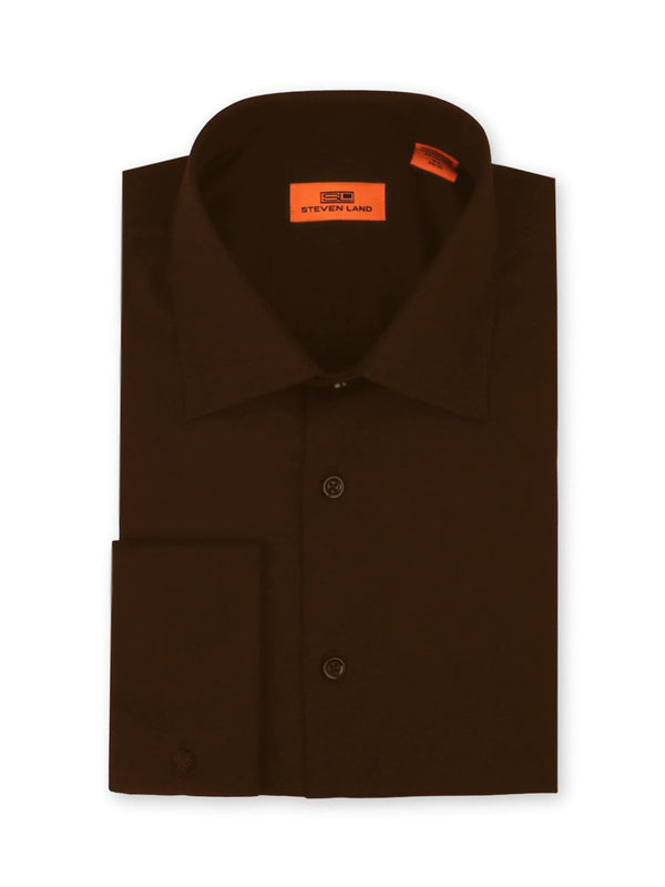Steven Land Poplin Dress Shirt | Brown