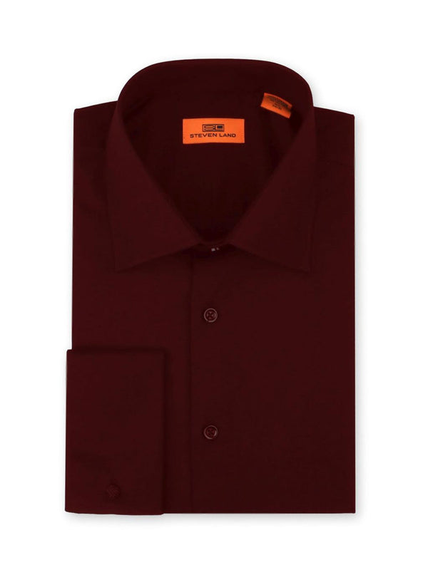 Steven Land Poplin Dress Shirt | Classic Fit | French Cuff | 100% Cotton | Color Burgundy