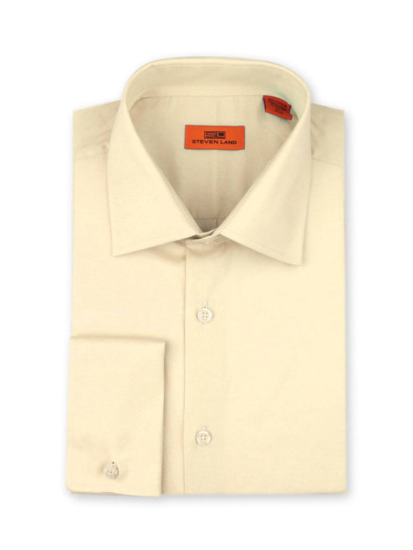 Steven Land Poplin Dress Shirt| Classic Fit | French Cuff | 100% Cotton | Color Cream