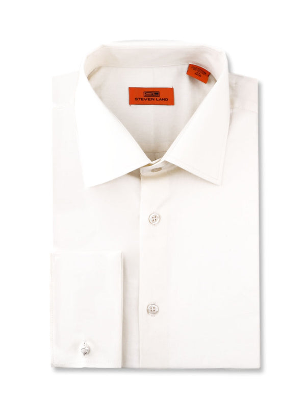 Steven Land Poplin Dress Shirt | Classic Fit | French Cuff | 100% Cotton | Color Egg Shell